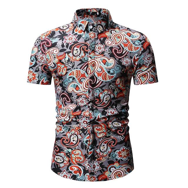 Men's Shirt Floral Print Tops Streetwear Boho Blue Red