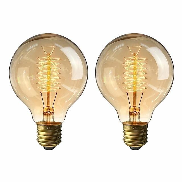 2pcs 40 W E26 / E27 G80 ขาวนวล 2200-2800 k เรทโทร / หรี่แสงได้ / ตกแต่ง หลอดไฟ Vintage Edison รุ่น Exand 220-240 V