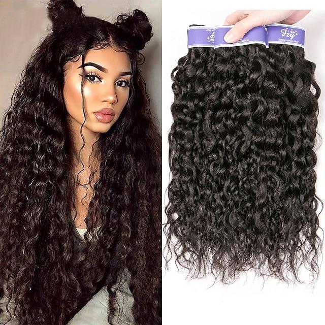 3 svazky Vlasy na vlasy Brazilské vlasy Mírné vlny Rozšíření lidský vlas Remy lidské vlasy 300 g Lidské vlasy Vazby 8-28 inch Přírodní barva
