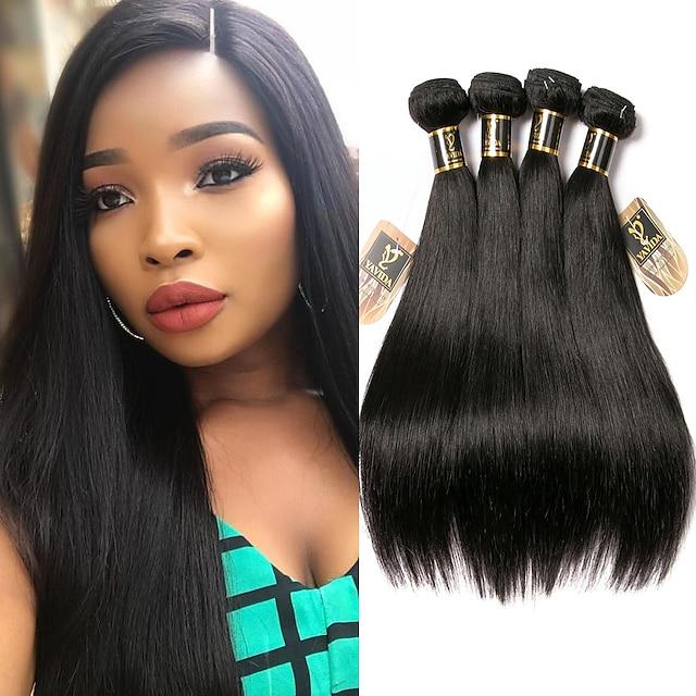 4 πακέτα Υφαντά μαλλιών Βραζιλιάνικη Ίσιο Επεκτάσεις ανθρώπινα μαλλιών Remy Ανθρώπινα μαλλιά Δέσμες 100% Remy Hair Weave 400 g Υφάνσεις ανθρώπινα μαλλιών Εξτένσιον από Ανθρώπινη Τρίχα 8-28 inch