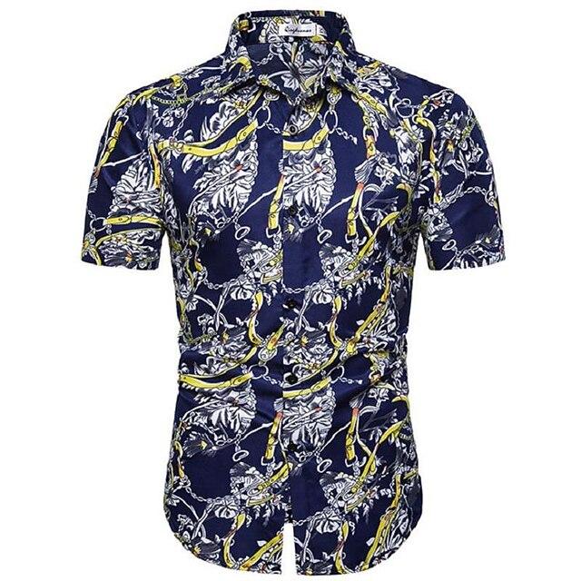 남성용 셔츠 그래픽 기하학 플로럴 프린트 탑스 면 네이비 블루