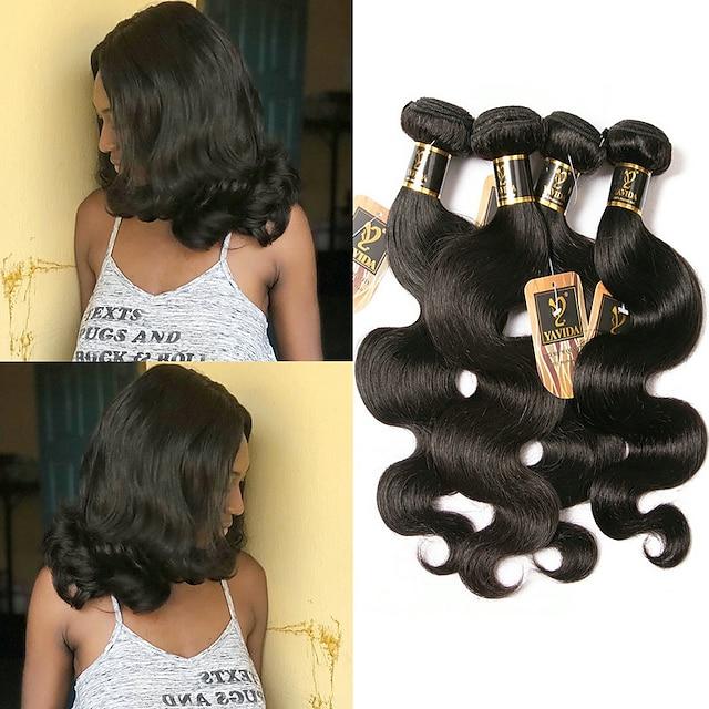 4 pakker Hårvæver Brasiliansk hår Krop Bølge Menneskehår Extensions Remy Menneskehår 100% Remy Hair Weave Bundles 400 g Menneskehår, Bølget Hårforlængelse af menneskehår 8-28 inch Naturlig Farve