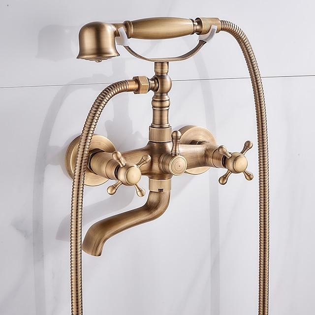 pirinç küvet musluğu, duvara monte antika pirinç yağmur duş bataryası muslukları el duşu ve soğuk / sıcak su içerir