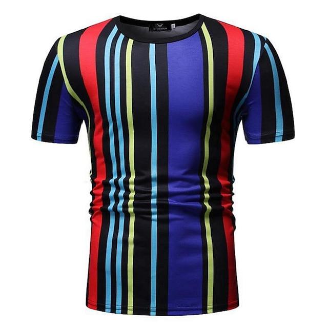 남성용 T 셔츠 줄무늬 컬러 블럭 패치 워크 탑스 면 화이트 블랙