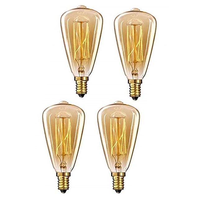 4db 40w e14 st48 meleg fehér 2200-2800k retro csillogó dekoratív izzó vintage edison lámpa 220-240v