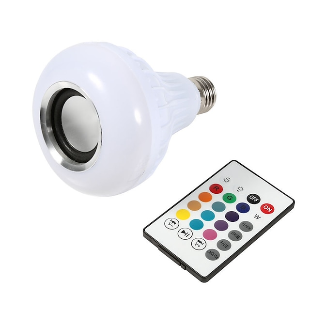 1 pcs Smart E27 12 W Ampoule LED Ampoule RGB Lumière Sans Fil Bluetooth Audio Haut-Parleur Musique Jouer Dimmable Lampe Télécommande