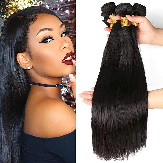 3 Связки Плетение волос Бразильские волосы Прямой Расширения человеческих волос Не подвергавшиеся окрашиванию Человека ткет Волосы Пучок волос One Pack Solution 8-28 дюймовый Естественный цвет