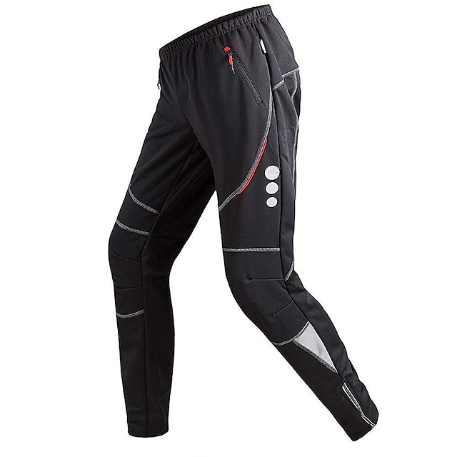 TRYSIL Men's Cycling Tights Cycling Pants Winter Fleece Spandex Bike Pants / Trousers Tights Bottoms Thermal Warm Waterproof Windproof Sports Solid Colored Black Mountain Bike MTB Road Bike Cycling