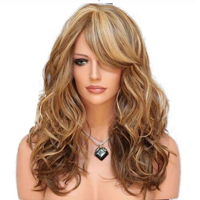 Synthetic Wig Curly With Bangs Wig Medium Length Light golden Light Brown Black / Red Synthetic Hair 60 inch Women's curling Blonde Brown