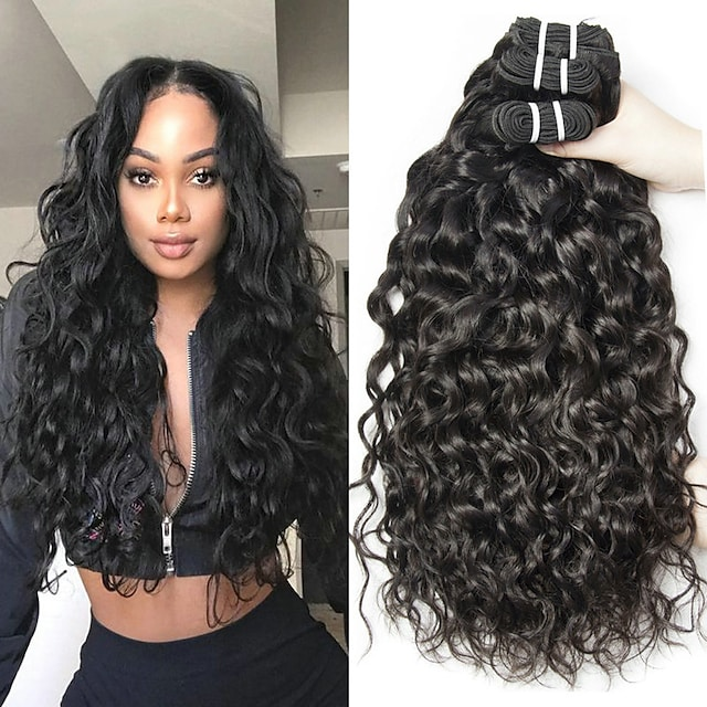 3 δεσμίδες Υφαντά μαλλιών Βραζιλιάνικη Κύμα Νερού Επεκτάσεις ανθρώπινα μαλλιών Remy Ανθρώπινα μαλλιά 300 g Υφάνσεις ανθρώπινα μαλλιών 8-28 inch Φυσικό Χρώμα