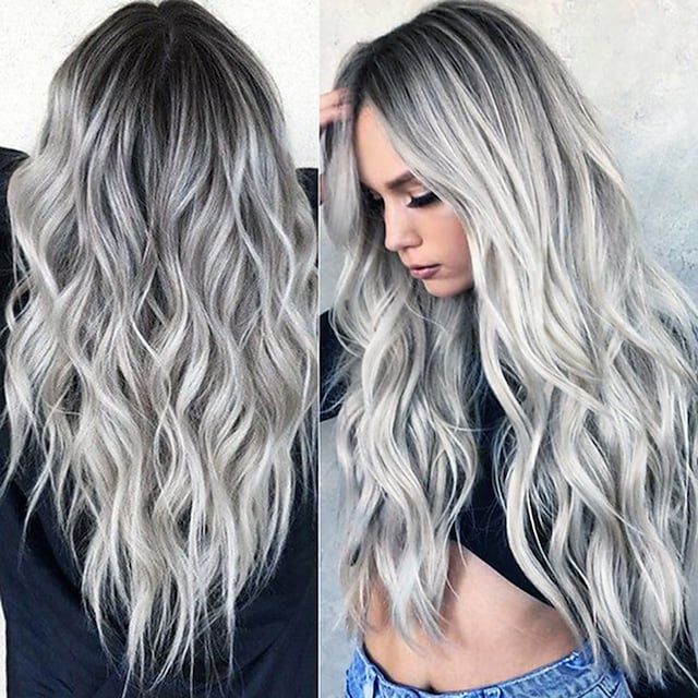 parrucca sintetica ondulata parte centrale parrucca lunga grigio / rosa / marrone / verde / vino capelli sintetici donne di design alla moda da 24 pollici