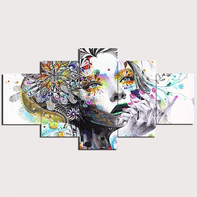 프린트 스트레치 캔버스 인화 - 추상적인 우아한 전통적인 5판넬 아트 지문