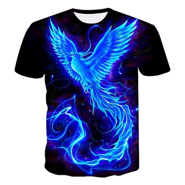남성용 T 셔츠 그래픽 3D 플러스 사이즈 프린트 짧은 소매 캐쥬얼 탑스 블랙