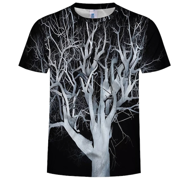 남성용 T 셔츠 나무 / 나뭇잎 플러스 사이즈 프린트 탑스 면 블랙