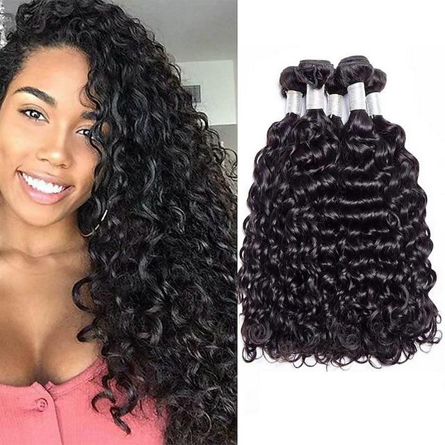 4 pakettia Hiuskudokset Perulainen Vesiaalto Hiukset Extensions Remy-hius 100% Remy Hair Weave -paketit 400 g Hiukset kutoo Aitohiuspidennykset 8-28 inch Luonnollinen väri Luonto musta Shedding