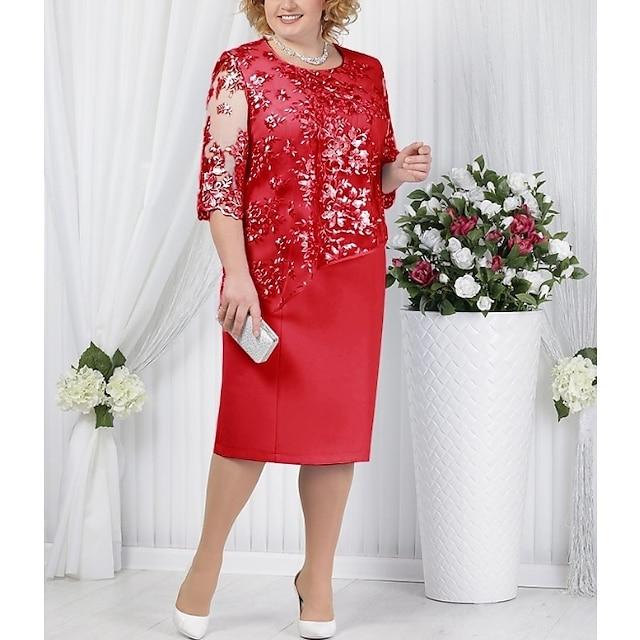 Dame Skiftkjole Knelang kjole Blå Rød Lyseblå Halvlange ermer Helfarge Paisly Formell Stil Blonde Høst Vår Rund hals For mor / mor Ut på byen L XL XXL 3XL 4XL 5XL / Store størrelser