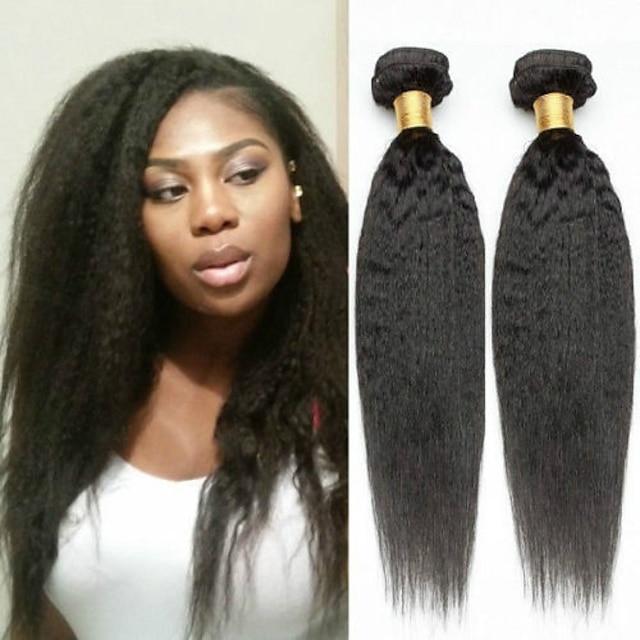 4 חבילות שיער אריגה שיער ברזיאלי Kinky Straight תוספות שיער אדם שיער ראמי שיער Bundle פתרון חפיסה אחת תוספות שיער משיער אנושי 8-28 אִינְטשׁ צבע טבעי רך הלבשה קלה מכירה חמה