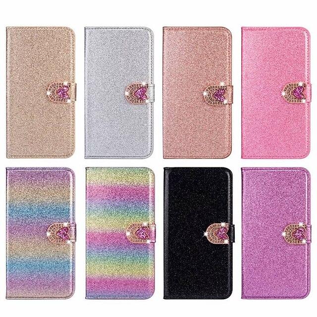 telefono Custodia Per Apple Integrale Custodia in pelle Porta carte di credito iPhone 12 Pro Max 11 SE 2020 X XR XS Max 8 7 6 A portafoglio Porta-carte di credito Con diamantini Con cuori Glitterato