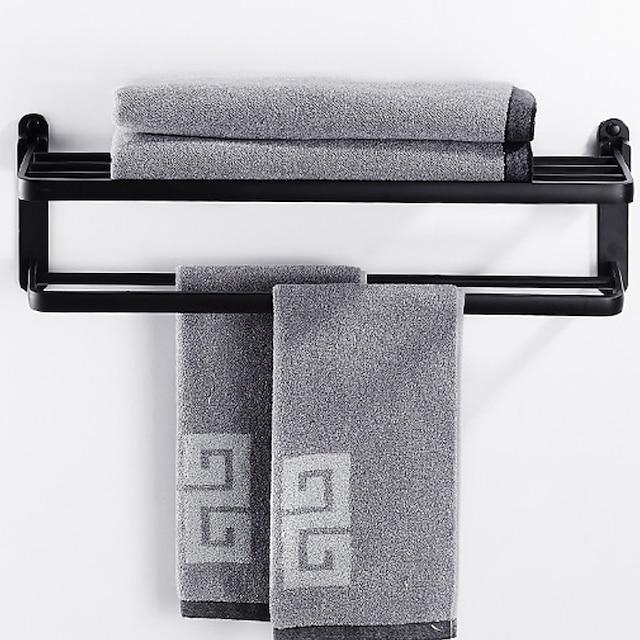 monikäyttöinen pyyheteline uusi muotoilu nykyaikainen alumiininen kaksinkertainen pyyhetanko seinälle kiinnitetty musta 1kpl