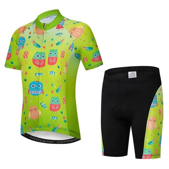 21Grams Boys' Girls' Short Sleeve Cycling Jersey with Shorts - Kid's Summer Violet Black / Green Black / Blue Cartoon Floral Botanical Funny Bike Clothing Suit Quick Dry Moisture Wicking Breathable