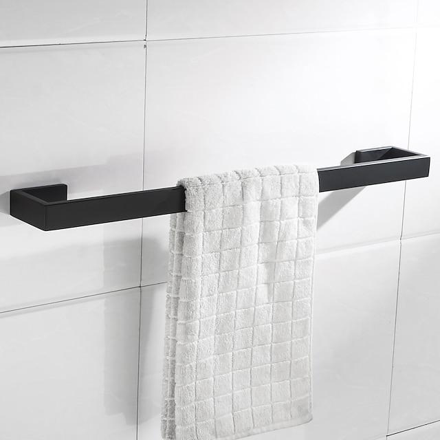 Porte-serviettes nouveau design en métal salle de bain simple tige en acier inoxydable mural porte-serviettes de bain noir mat 1pc