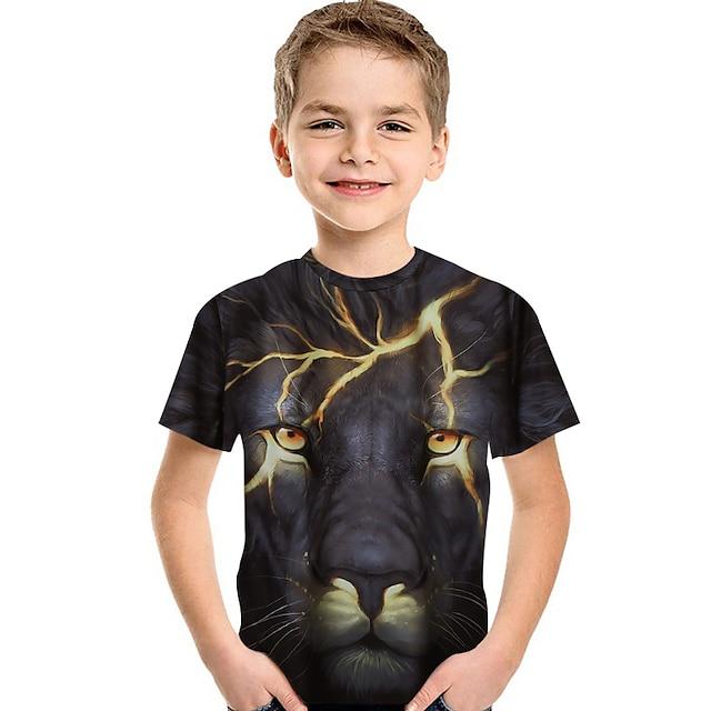 Børn Baby Drenge T-shirt Kortærmet Løve Trykt mønster 3D Dyr Trykt mønster Sort Børn Toppe Sommer Aktiv Basale