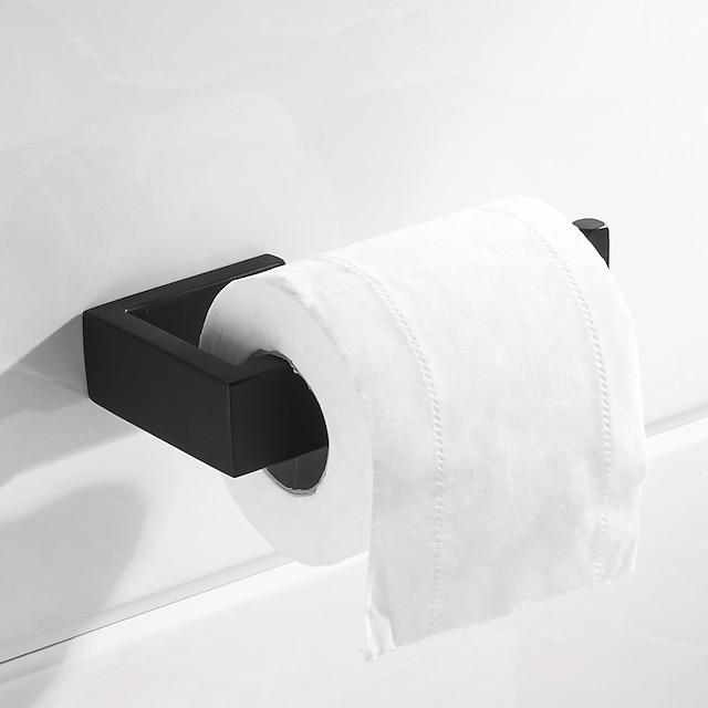 トイレットペーパーホルダー新しいデザインの金属長方形シングルバスルームロッド壁掛けマットブラック1個