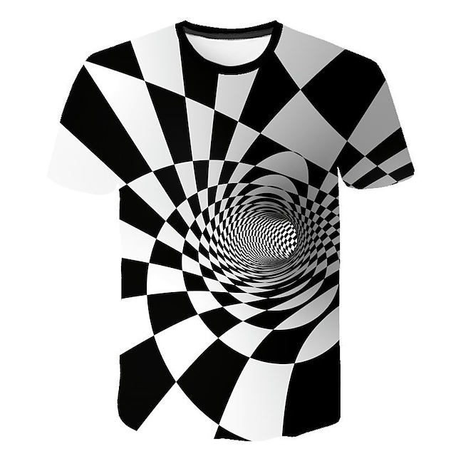 남성용 T 셔츠 그래픽 기하학 3D 프린트 짧은 소매 캐쥬얼 탑스 화이트