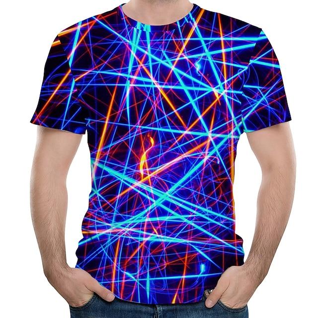남성용 T 셔츠 그래픽 추상화 플러스 사이즈 프린트 짧은 소매 일상 탑스 화이트 퍼플 클로버