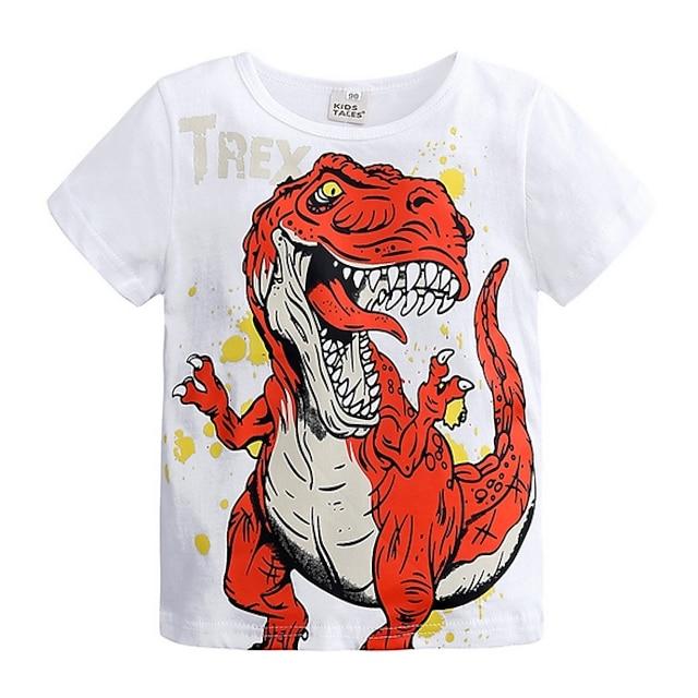 Kids Boys' T shirt Tee Short Sleeve Dinosaur Print Children Summer Tops Basic White Blue Gray