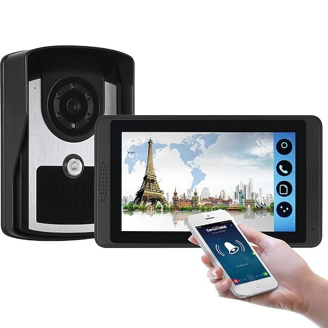 618fc11 7-дюймовый емкостный сенсорный экран видеокамеры проводной видео дверной звонок Wi-Fi / 3 г / 4 г удаленного вызова разблокировки хранения визуальный домофон один в один