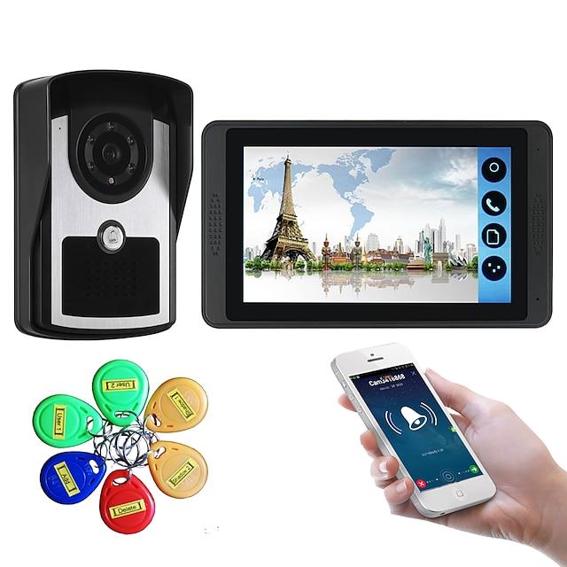7 pollici touch screen capacitivo videocamera cablata video campanello wifi / 3g / 4g chiamata remota memoria di sblocco visivo citofono macchina esterna carta d'identità funzione uno a uno