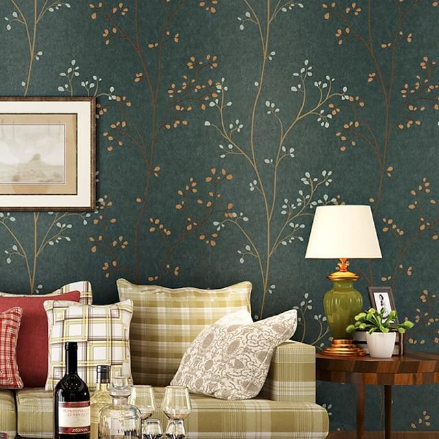 나무 / 나뭇잎 홈 장식 전통적인 벽 취재, 부직포 자료 접착제가 필요 벽지, 방 벽지