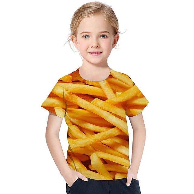 Kinderen Peuter Voor meisjes T-shirt Korte mouw Afdrukken Geometrisch 3D Opdruk Geel Kinderen Tops Actief Basic