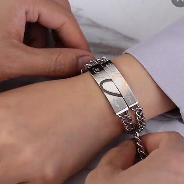 2 개 남성용 여성용 체인 & 링크 팔찌 기하학적 인 하트 스테이트먼트 세련 우아함 유행의 단 티타늄 스틸 팔찌 쥬얼리 실버 제품 결혼식 선물 일상 약혼 약속