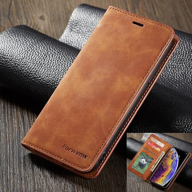Telefon Hülle Handyhüllen Für Apple Ganzkörper-Gehäuse Ledertasche Brieftasche Kartenetui iPhone 12 Pro Max 11 SE 2020 X XR XS Max 8 7 6 Geldbeutel Kreditkartenfächer Stoßresistent Einfarbig Hart
