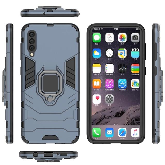 전화 케이스 제품 삼성 갤럭시 전체 바디 케이스 A8 2018 A8+ 2018 A7 Galaxy A9 (2018) A10 A30 A50 A20 A40 A70 링 홀더 갑옷 한 색상 갑옷 하드 PC