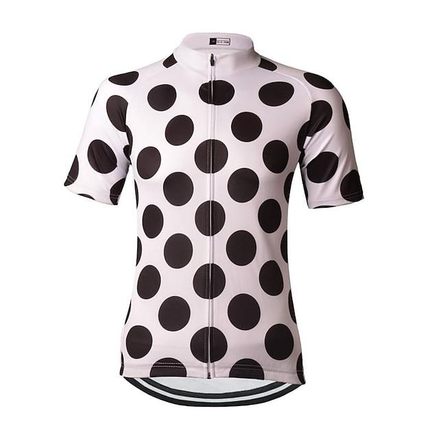 21Grams 도트무늬 여성용 짧은 소매 싸이클 져지 - 블랙 / 화이트 자전거 져지 탑스 통기성 빠른 드라이 모니스처 위칭 스포츠 테릴린 산악 자전거 의류 / 약간의 신축성 / 애슬레저