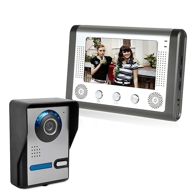 LITBest 801FA11 Wired CMOS IP Video Door Phone Doorbell Built In Out Speaker 7 Inch Hands-free 800*480 Pixel One to One Wall Mounting Doorphone