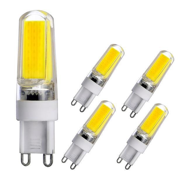5pcs g9 base led ampoules dimmable led bi-broches lumières 3w cob led lumière pour home office halls lustre ac110v ac220v chaud blanc blanc naturel blanc
