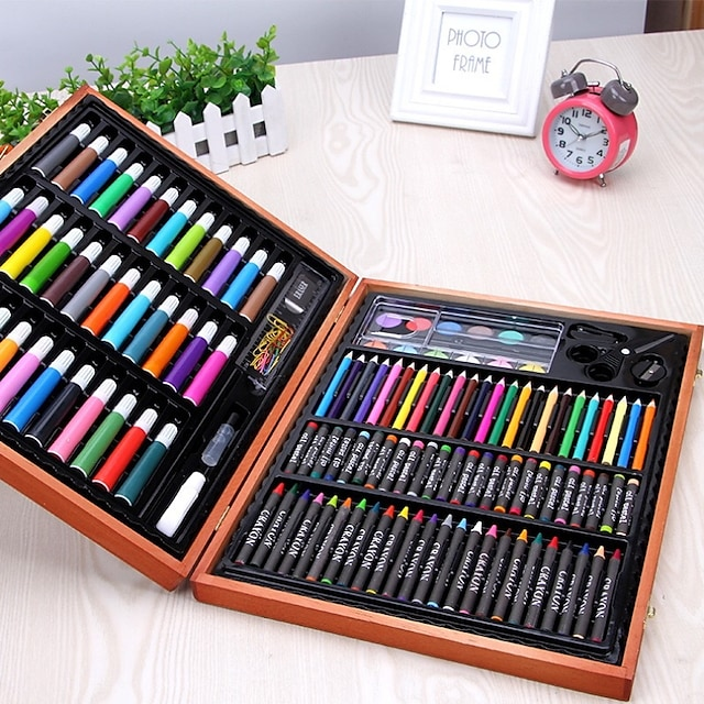 109pcs Deluxe Oily Colored Pencil Painting Drawing Art Supplies for Write Drawing Set for Kids with Plastic Case Light Great Gift for Kids Christmas Gift
