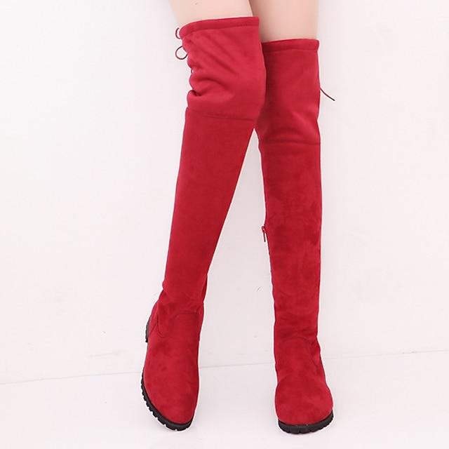 สำหรับผู้หญิง บูท รองเท้าบู๊ตเข่าแบบเข่า ส้นแบน ปลายกลม รองเท้าบู้ทคลุมเข่า ไม่เป็นทางการ ทุกวัน หนังนิ่ม สีพื้น สีดำ แดง สีเทา / บู้ทสูงกว่าเข่า