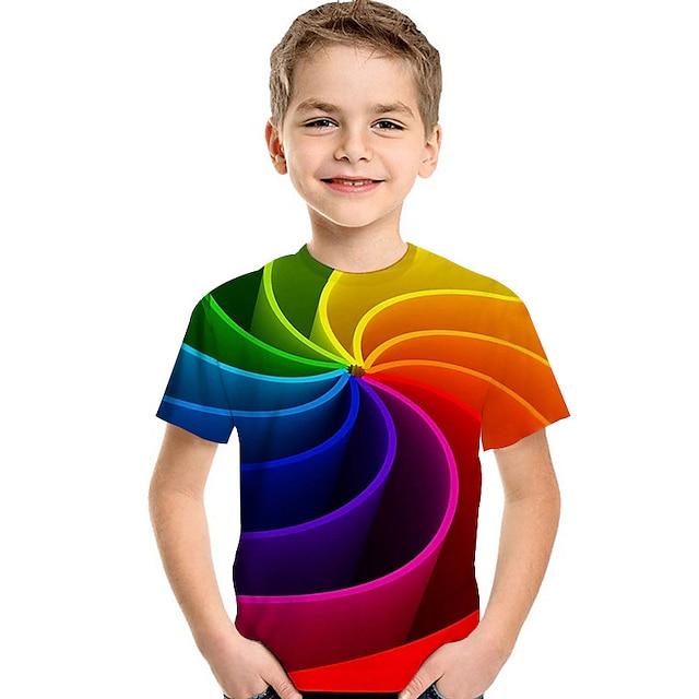 Enfants Bébé Garçon T-shirt Tee-shirts Manches Courtes Imprimé 3D Print Bloc de Couleur Imprimé Enfants Eté Hauts Actif basique violet foncé Bleu Clair Vert Claire