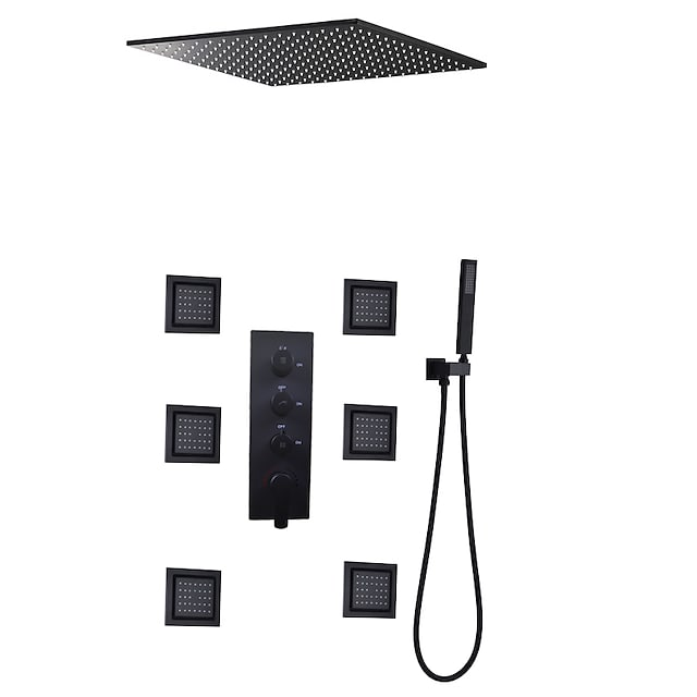 Contemporary Black Bath Shower Faucet Set / 16 Inch Bathroom Rain LED Shower Head / Hot And Cold Mixer Valve / Brass Hand Shower Included