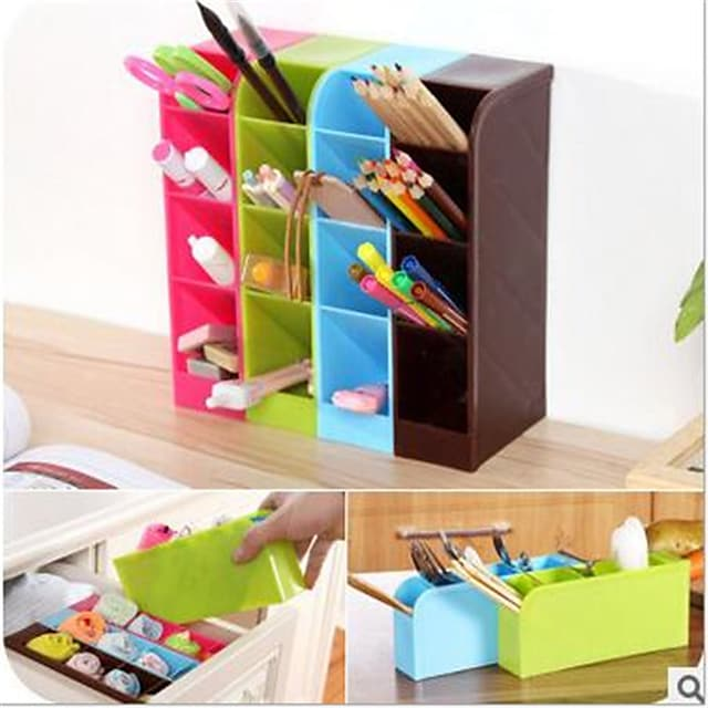 1 pc School Desk Pen Caddy Organizer School Equipment Storage Holder for Students, Teachers, Multiple Compartments for Pens, Erasers and More
