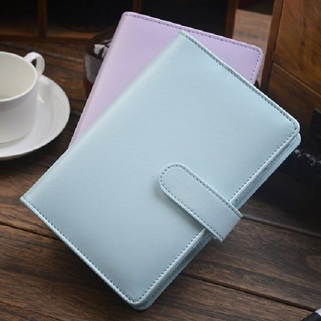 2pcs Macaron A6 Spiral Leather Notebook Stationery For Office School Personal Agenda Organizer Diary Planner Gift Mint Blue