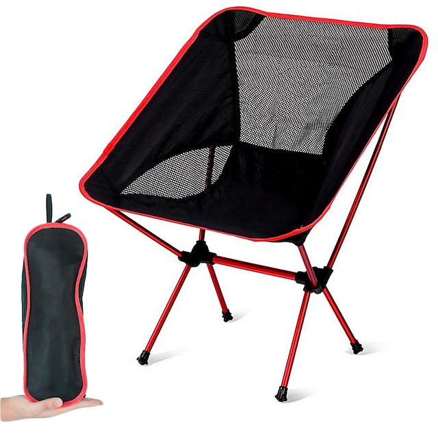 Chaise camping Portable Ultra léger (UL) Pliable Tissu Oxford Alliage d'aluminium Maille pour 1 personne Plage Barbecue Mettre à niveau orange Mise à niveau rouge Mettre à niveau la marine mise