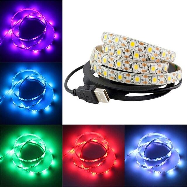 smd 5050 Bande lumineuse LED RGB Ruban LED led bande imperméable à l'eau 2m 60 led dc 12v fita led bandes de lumière tv ambry lumière