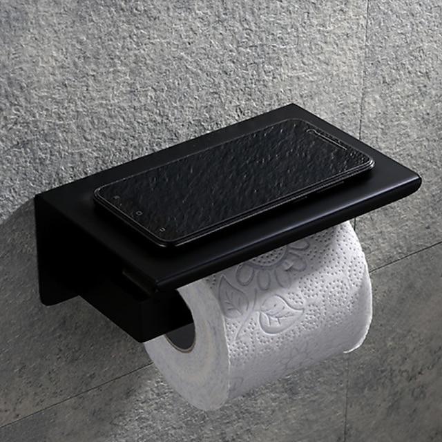toiletrolhouder wandmontage badkamer tissue rolhanger roestvrij staal met opbergvak voor mobiele telefoon mat zwart 1 st