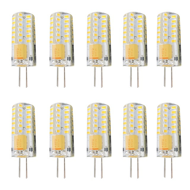 10 db 3 W LED betűzős izzók 300 lm G4 T 48 LED gyöngyök SMD 3014 Tompítható Meleg fehér Fehér 12-24 V